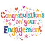Enhorabuena en su tarjeta del compromiso Foto de archivo