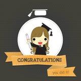 Enhorabuena para el graduado largo del pelo de la muchacha Imágenes de archivo libres de regalías