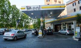 ENI Agip加油站在罗马 免版税图库摄影