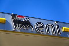 Eni petrol station. Detail from Eni petrol station in Syracuse. is an Italian multinational oil and gas company headquartered in Rome founded at 1953 royalty free stock photo