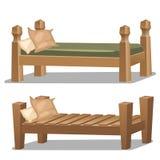Enig houten bed Binnenlandse punten in beeldverhaalstijl Stock Afbeeldingen