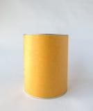 Enig Metaal Tin Can met Leeg Abstract Bruin Kringloop Behandeld die Document als Malplaatje aan inputtekst wordt gebruikt voor he Royalty-vrije Stock Fotografie