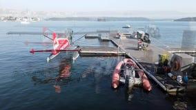 Enig motor overzees vliegtuig op Sydney Harbour, Australië stock footage