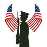 Enig påstådd flagga med militar officiell form stock illustrationer