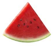 Enig vers die watermeloenstuk op witte achtergrond wordt geïsoleerd Stock Foto's