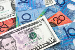 Eniga statliga och australiska dollar valuta Arkivbild