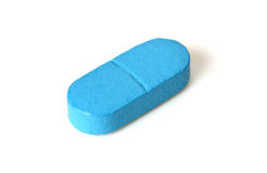 Enige blauwe pil of tablet Stock Foto