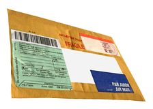 Enige gele envelop (cn22 vorm), postpakket Stock Afbeelding