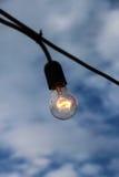 Enige gloeidraadbol tegen een bewolkte hemel Stock Foto's