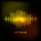 Enige kleurrijke eq, equaliser Vector correcte audiogolf, frequentie, melodie, sound-track in nacht voor elektronische dans royalty-vrije illustratie