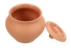 Enige open lege ceramische pot royalty-vrije stock afbeelding