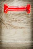 Enige rode domoor op het houten concept van de raadsgeschiktheid Stock Foto's
