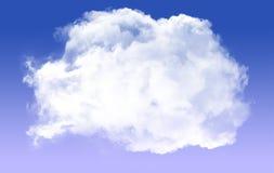 Enige ronde die wolkenvorm over blauwe achtergrond wordt geïsoleerd vector illustratie