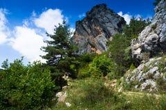 Enige rots in berg Royalty-vrije Stock Fotografie