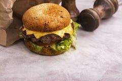 Enige rundvleescheeseburger Stock Afbeelding
