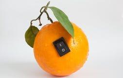 Enige sinaasappel met schakelaar in macht van positie Stock Fotografie