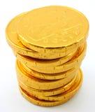 Enige stapel chocolade gouden muntstukken Stock Afbeelding