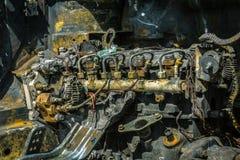 Enigine di un'automobile bruciata Immagini Stock Libere da Diritti