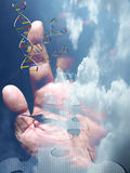 Enigma 2. DNA strands, hand and clock float in clouds Stock Images