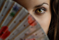 Enigma. Half-face of sensual model and color fan Stock Image