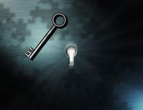 Enigma. Bright light shines from a keyhole, puzzle piece shadows, and a waiting key Royalty Free Stock Image
