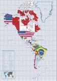 Enigma continental das bandeiras e do mapa de país de América Imagem de Stock