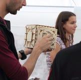 enigma 3D de madeira tridimensional Fotos de Stock