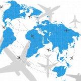 Enigma da ilustração do curso do vôo do mapa de mundo Foto de Stock
