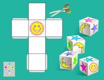 Enigma da lógica Tire as imagens relevantes no teste padrão, colora-as e faça-as pelo cubo (como mostrado nas amostras) Foto de Stock Royalty Free