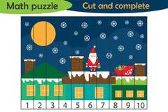 Enigma da matemática, imagem do xmas com a Santa nos desenhos animados do telhado, jogo da educação para o desenvolvimento de cri ilustração stock