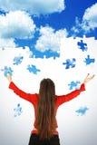 Enigma da menina e do vôo do céu Imagem de Stock