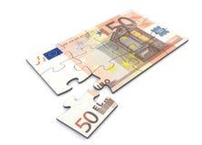 Enigma da nota do euro 50 Fotografia de Stock
