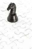 Enigma de cavaleiro preto e de serra de vaivém Imagens de Stock Royalty Free