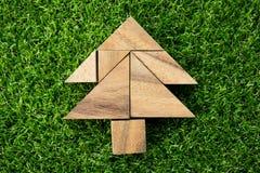 Enigma de madeira do tangram na forma da árvore de Natal fotografia de stock