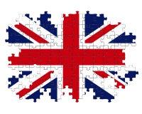 Enigma de serra de vaivém de Union Jack ilustração do vetor
