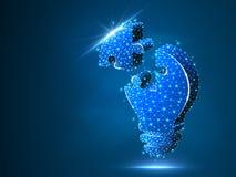 Enigma de serra de vaivém da ampola Ideia, eletricidade, conceito da inovação Baixo símbolo poli de néon da lâmpada do bulbo do w ilustração royalty free