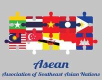 Enigma de serra de vaivém da bandeira do membro de dez países do Asean com texto: Associação das nações asiáticas do sudeste ilustração royalty free