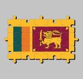 Enigma de serra de vaivém da bandeira de Sri Lanka na cor quatro de amarelo alaranjado e escuro verdes - vermelho com leão dourad ilustração stock