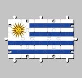 Enigma de serra de vaivém da bandeira de Uruguai em listras horizontais da substituição branca com luz - azul e o Sun de maio ilustração royalty free