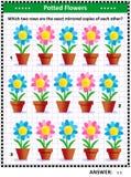 Enigma dell'immagine con le file rispecchiate dei fiori conservati in vaso illustrazione vettoriale