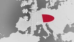 Enigma do avião que caracteriza a bandeira de França contra o mapa do mundo Animação 3D conceptual do turismo francês ilustração do vetor