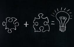 Enigma do desenho da mão de Businessmans no quadro-negro para explicar o conceito do negócio Resolvendo o enigma junto Ampola de  Foto de Stock