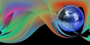 Enigma do globo no fundo abstrato Imagem de Stock