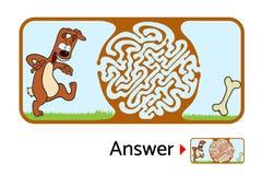 Enigma do labirinto para crianças com cão e osso Ilustração do labirinto, solução incluída Fotos de Stock Royalty Free
