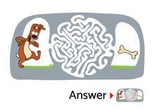 Enigma do labirinto para crianças com cão e osso Ilustração do labirinto, solução incluída Foto de Stock Royalty Free