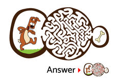 Enigma do labirinto para crianças com cão e osso Ilustração do labirinto, solução incluída Imagem de Stock