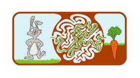 Enigma do labirinto para crianças com coelho e cenoura, ilustração do labirinto com solução ilustração do vetor