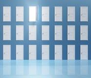 Enigma Doors. Wall of doors one top door open Royalty Free Stock Photo