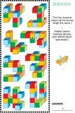 Enigma educacional da matemática com blocos coloridos do brinquedo ilustração do vetor
