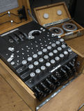 Enigma Encryption Machine. Detail of German Enigma encryption machine and rotors Royalty Free Stock Photography